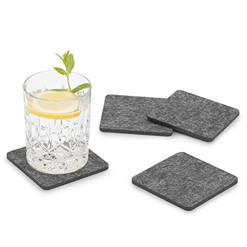 FILU Filzuntersetzer eckig 8er Pack (Farbe wählbar) dunkelgrau - Untersetzer aus Filz für Tisch und Bar als Glasuntersetzer / Getränkeuntersetzer für Glas und Gläser rechteckig viereckig