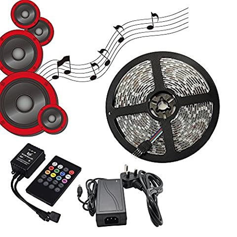 E-JIAEN Led Strip Lights SMD5050 Waterproof Color Changing 16.4 Feet Flexible for Music Dance with IR Controller 12V/5A