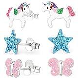 GH* KIDS 3 PAAR Ohrstecker Glitzer Einhorn + Kristall Stern + Schmetterling 925 Echt Silber Mädchen Kinder Ohrringe XM204