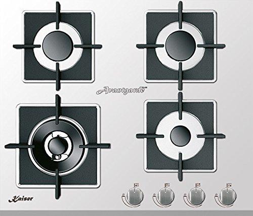 Kaiser KCG 6382 W Plaque de cuisson à gaz 60 cm / blanc/ exclusif / Autonome / Cuisinière /4 brûleurs - 3,8 kW WOK /Gaz naturel et propane possibles/ Qualité Supérieure