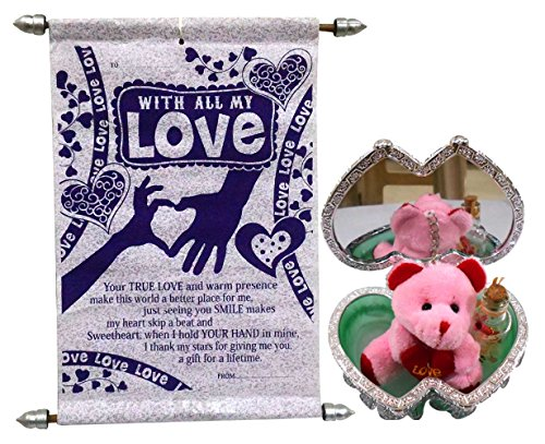 Natali Love Gift Love Scroll Card With Teddy Key Chain & Message Bottle In Jewelry Box