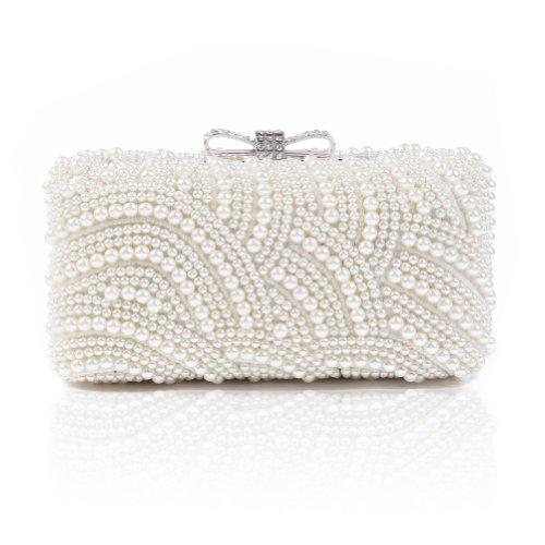 Damara Mini Damen Perle Hartschalen Schleife Verschluss Clutch Handtasche,Beige (Handtasche Perlen Tasche)