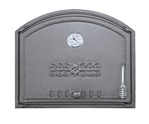 Backofentür Ofentür Pizzaofentür Holzbackofentür Steinbackofentür aus Gusseisen mit Thermometer | Außenmaße: 485x410 mm | Öffnungsrichtung: links