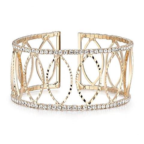 BABEYOND Bracelet Cristal Femme Bracelet Strass Large Bracelet Extensible Diamante Bracelet CZ Cristal Rhinestone Nuptiale Femme pour Mariage Fête Soirée, Doré Ovale