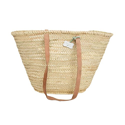 Emma Traditional French Basket, Hand Woven with Long Handle - Shopping / Beach Bag