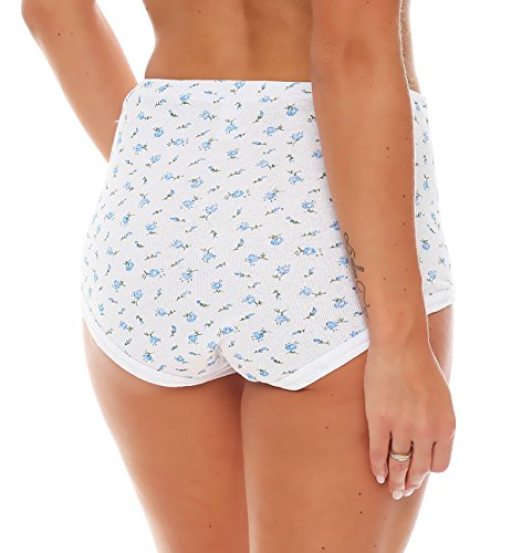 4er Pack Damen Slips aus Baumwolle (weiß / geblümt) Nr. 420 ( Modell 3 / 68/70 ) - 7