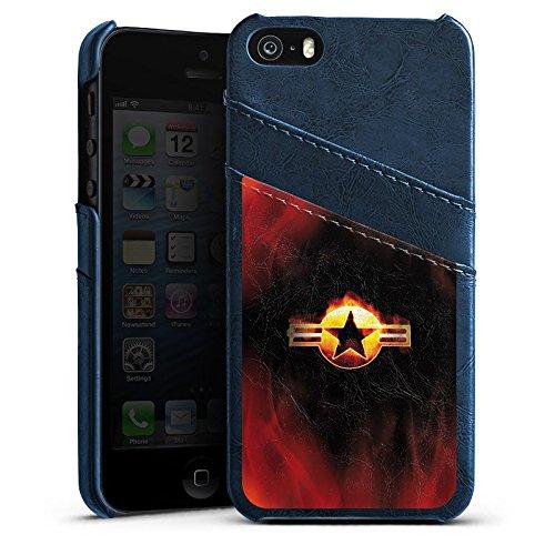 Apple iPhone 4 Housse Étui Silicone Coque Protection Étoile Emblême Flammes Étui en cuir bleu marine