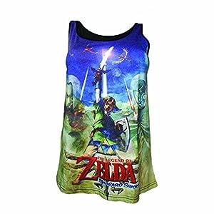 Nintendo Legend of Zelda Skyward Sword Mangas sublimación de impresión Superior (Grande, Azul / Verde)