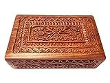 """Joyero de madera con talla floral decorativa en él, color marrón, caja de la vendimia, caja de recuerdo, caja de baratija - 8 X 5 """", día de Pascua / día de la madre / regalo de Viernes Santo"""