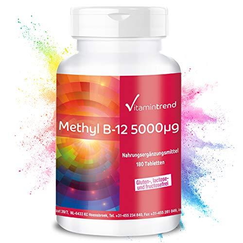 Methylcobalamin 5000mcg - Vitamin B12 - hochdosiert - 180 vegane Tabletten - Hergestellt in Deutschland - ! FÜR 6 MONATE !