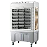 LIQICAI Portable Air Cooler Fan Humidifier Air Purifier 3 Fan Speeds with Remote Control Universal wheel (Color : Gray+White)