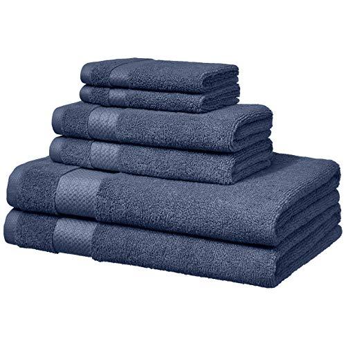 AmazonBasics Performance 2 teli bagno 2 asciugamani per il viso e 2 salviette piccole Blu scuro