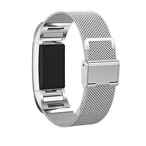 Fitbit Charge 2 Armbänder Pinhen Milanaise Edelstahl Armbanduhren Watch Band Edelstahl Metall Armband Ersatz Uhrenarmband für Fitbit Charge 2 Armband