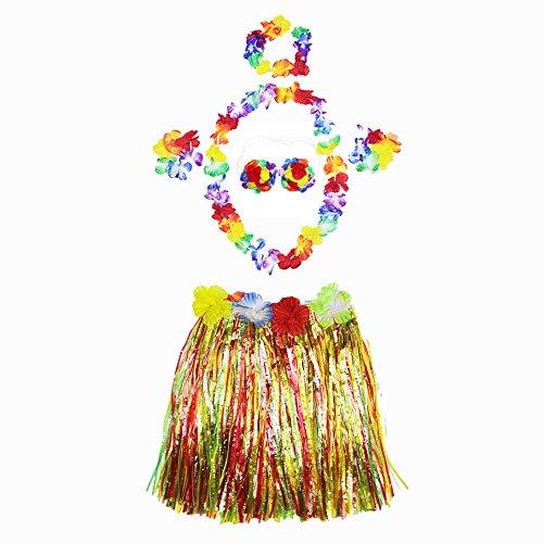 Ecloud Shop® Halloween Masquerade Hawaiian Hula Grass Rock Tanz trägt Kleidung Set