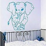 Adesivo murale modello piccolo elefante per la decorazione domestica della camera da letto della scuola materna della parete del vinile Decorativo carta da parati modellata dell'elefante 57x57cm