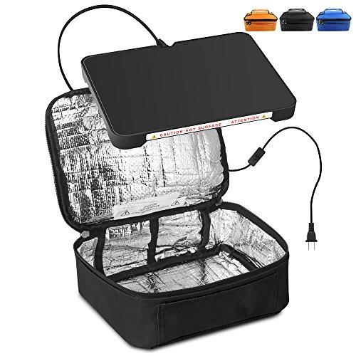 Yiboss Mini Mini Portable four de chauffage électrique, chauffage électrique Sac à déjeuner, étanche Réchaud Sac de transport Fonctionne avec tous les Flatform inférieur 12 V Car2 noir