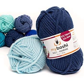 Myboshi (155 marine) Merino Wolle / Acrylgarn No. 1 zum stricken, häkeln und für die Handarbeit (55m/50gr)