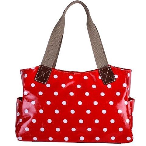 Polka Dot Little Cars Little Stars Oilcloth Shoulder Bag Canvas Strap Women Handbag (Red)