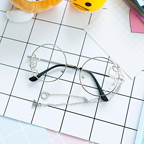 Lunettes rondes de cadre en métal de Steampunk ont personnalisé des lunettes rétro avec la chaîne