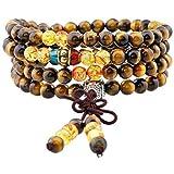 Mookaitedecor - Mala tibetano, ghirlanda composta da 108 perline di cristalli curativi, con cordoncino elastico, colore: Oeil de Tigre et Ambre, cod. PLAYNUM0000117
