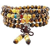 Bracelet à la mode composé de 108 perles rondes en cristal avec un gland créatif ou un noeud chinois.Vous pourriez les porter comme un collier ou un bracelet, bonne élasticité d'étirement, parfaitement pour la méditation, et guérison des cristaux, c'...