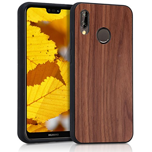 kwmobile Holz Schutzhülle für Huawei P20 Lite - Hardcase Hülle mit TPU Bumper Walnussholz in Dunkelbraun - Handy Case Cover