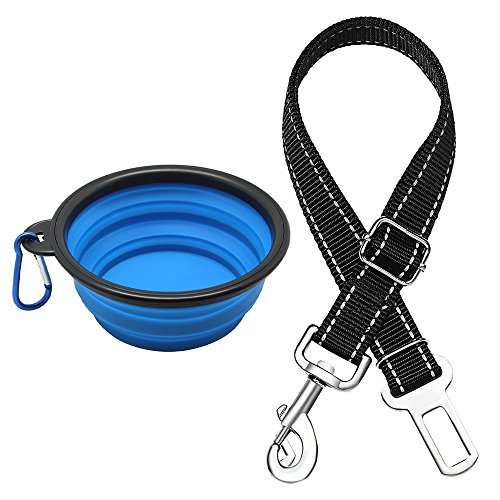 Nincha plegable PET Bowl + mascotas cinturón de seguridad conjunto, viajes de silicona perro PET Bowl con cinturón de seguridad para vehículos de coche correa de protección de mascotas plomos para perros mascota alimentación agua alimentación portátil Bowl de viaje para acampar y senderismo (azul)