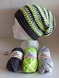 my boshi Häkelset Mütze, schwarz, silber, neongelb wie abgebildet m. 150g myboshi Wolle, Label und Lara's Creations Anleitung (Set 1: Wolle + Label)