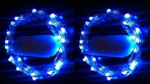 HLS 2 x 20 LED SW Cadena de batería Fairy Light en Azul