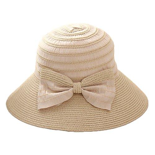 Leisial Beige Fischerhüte damen Frau Sommer Hut Outdoor-Mode Hüte Frauen Sommerhüte Damenmode Hut Faltbarer Hut,56-58cm