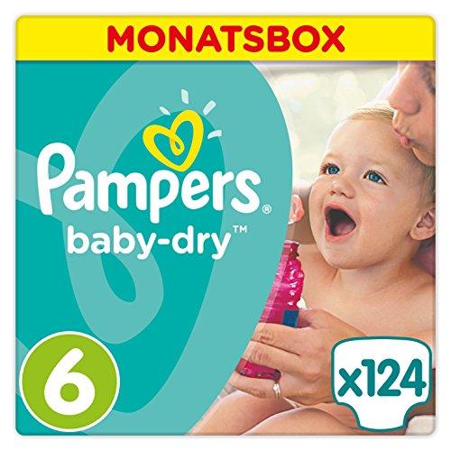 Preisvergleich Produktbild Pampers Baby Dry Windeln, für atmungsaktive Trockenheit, Gr. 6 (13-18 kg), Monatsbox, 1er Pack (1 x 124 Stück)