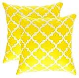 TreeWool Dekorativer Kissenbezug (45 x 45 cm, Gelb) Trellis Design 100% Baumwolle (2er Pack)