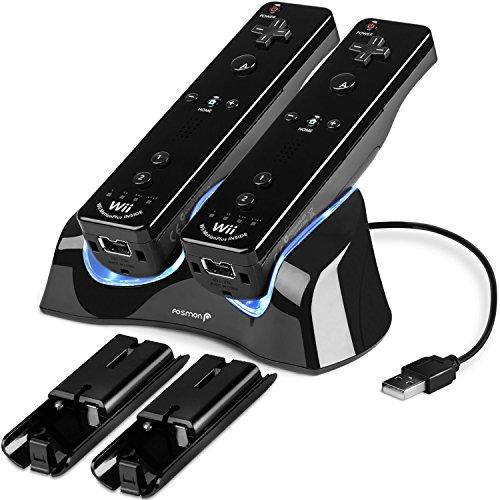 Fosmon Wii / Wii U Fernbedienung Dual Ladegerät Dockingstation Lader Ladestation mit 2 Wiederaufladbare Batterien und LED Lichter für Nintendo Wii / Wii U Remote Controller (Schwarz)