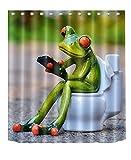 LNAG DuschvorhäNge 3D-Digitaldruck-Polyester-Wasserdichtes Toiletten-Frosch-Badezimmer , 180*180cm