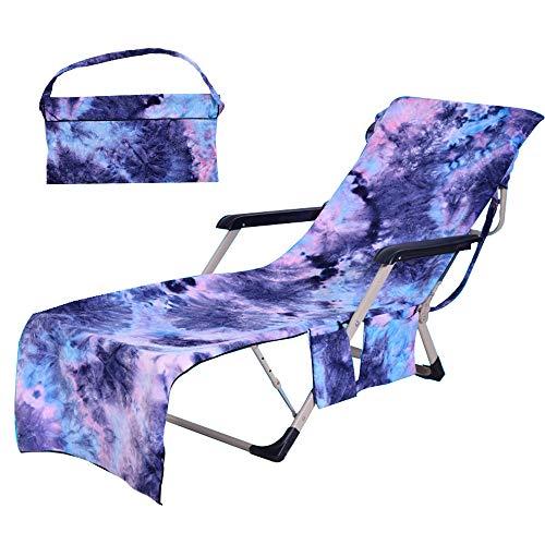 SUMSEA Strandkorb Handtuch Lounge Chair Cover, Mikrofaser Strandtasche Garten Sonnenliege Handtuch Stuhl Strandtuch mit Taschen schnell trocknende Handtücher, 210x75cm (Purple) -