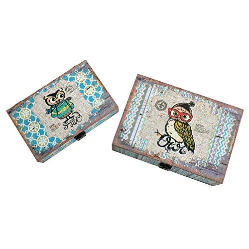 Rebecca Srl Set de 2 Cajas libro Caja de joyeria Canvas Vintage Blanco