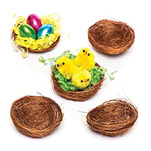 Baker Ross Mini Bird Nests for Fluffy Chicks and Easter Decorations (Pack of 15)