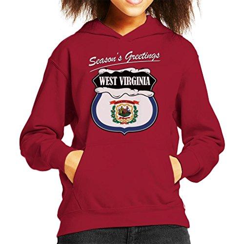 Seasons Greetings West Virginia Christmas Kid's Hooded Sweatshirt -