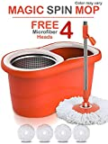 Hugo Mop Bucket Magic Spin Mop Bucket Double Drive Hand Pressure With 4 Microfiber Mop Head & 4 Color May Vary (With Soap Dispenser)