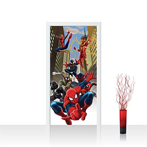 Türtapete selbstklebend 91x211 cm PREMIUM PLUS Tür Fototapete Türposter Türpanel Foto Tapete Bild - MARVEL Spiderman Kindertapete Comic - no. 318