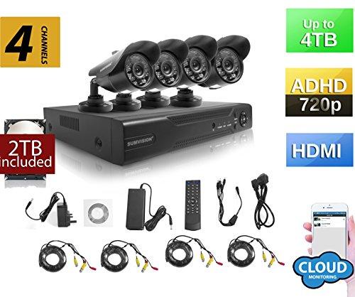 Sumvision CCTV Überwachungskamera Sicherheit Kamera System AHD DVR NVR Recorder Oracle Hybrid 720P CCTV Sicherheit System mit Wetter Proof Nachtsicht Kameras 960H/D1, HDMI-/VGA-/BNC Ausgang, 1000TVL hochauflösenden, vandalismusges/wetterfestes Metall Gehäuse, P2P Technology/E-Cloud Service, Schnellzugang über Smartphone QR Code Scan, PC EASY Remote-Zugang (Tb Hybrid-recorder 2)