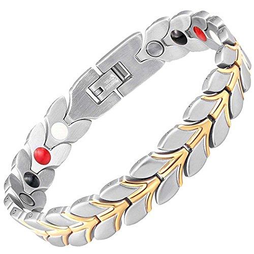 Damen Armband negativer Ion-magnetisch Heilkräfte Armband Schmerzlinderung Detox Energie Magnettherapie Gesundheit Armband für Frauen alle Größen + Geschenk-Box–wgs4 19.5 cm / 7.7 in