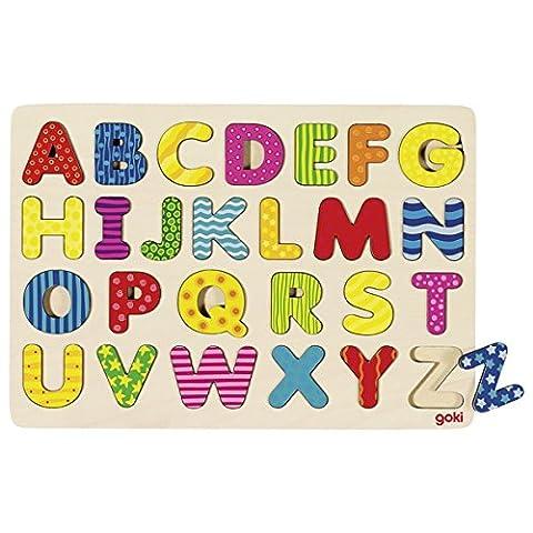 Goki - 2041624 - Puzzle En Bois - Alphabets - 26 Pièces
