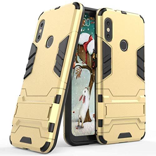 Funda para Xiaomi Mi A2 Lite/Redmi 6 Pro (5,84 Pulgadas) 2 en 1 Híbrida Rugged Armor Case Choque Absorción Protección Dual Layer Bumper Carcasa con Pata de Cabra (Dorado)
