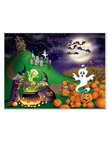 Preisvergleich Produktbild Hexen und Gespenster Halloween Wanddeko Folie bunt 1,5x1,8m