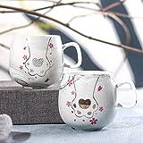 LINWX 350 ml Tazzine da caffè Tazza da Viaggio Tazza in Ceramica Tazza da Latte per Gatti Colazione da Latte, U0221 Grigio