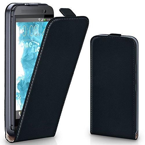 moex HTC One M8 | Hülle Schwarz 360° Klapp-Hülle Etui thin Handytasche Dünn Handyhülle für HTC One M8/M8s Case Flip Cover Schutzhülle Kunst-Leder Tasche