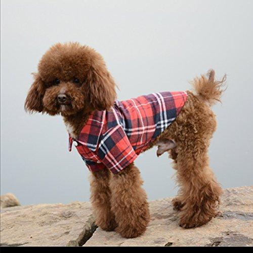 Hunde Kleider Haustiere Dekoration Sonnenschutz Modische Casual Plaid Shirt Gute Geschenke für Hunde S-XL (XL, rot) (Hund T-shirt Thanksgiving)