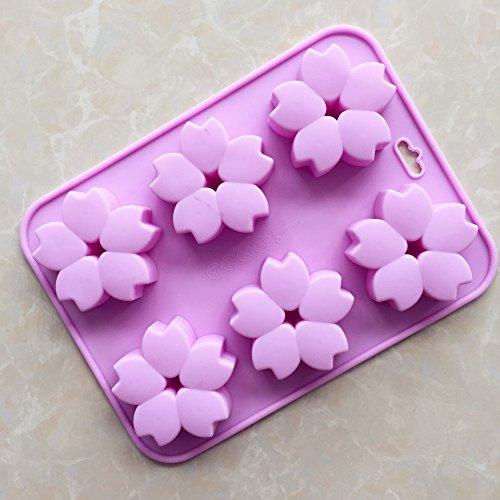 6 Kirschblüten Silikon Kuchenform Aroma schimmel Hohe Temperaturbeständigkeit, Violett