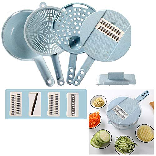 Tancurry Neue Elegante Multifunktionsreibe Gemüseschneider Eiertrenner Mehrzweck Küche Werkzeug (Blau)